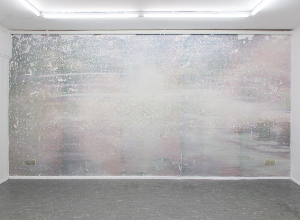 Luca Vanello, 'Looks slower the presumed', 2016, Digital image transferred on wall, partially sanded. A code was developed to insert plain text inside the binary code of a digital image. Image of a charged site of a hospice, altered by inserting found words from an anonymous sibling.  Collaboration with Sonnenhof hospice.